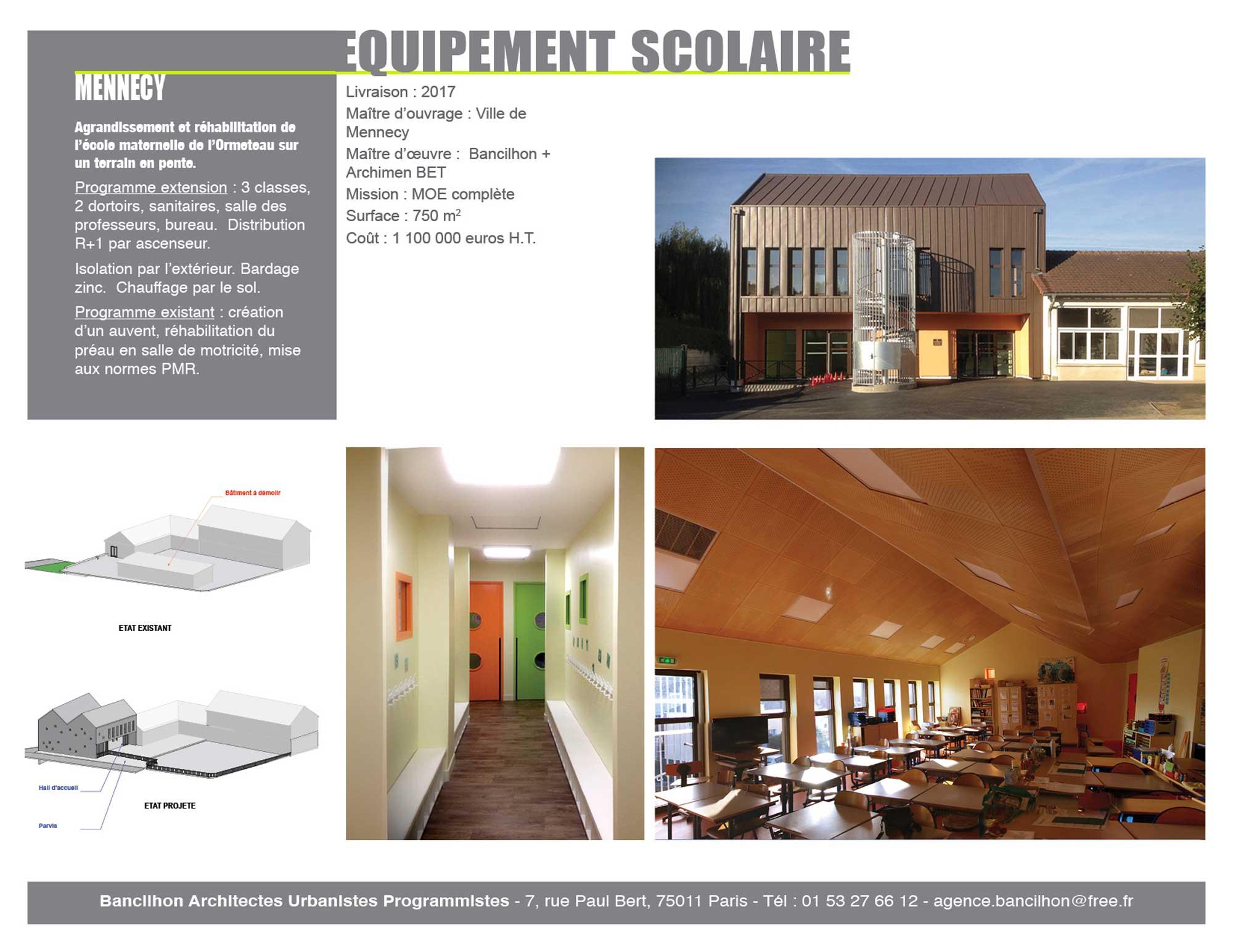 Mennecy ecole ormeteau equipement scolaire Bancilhon architectes