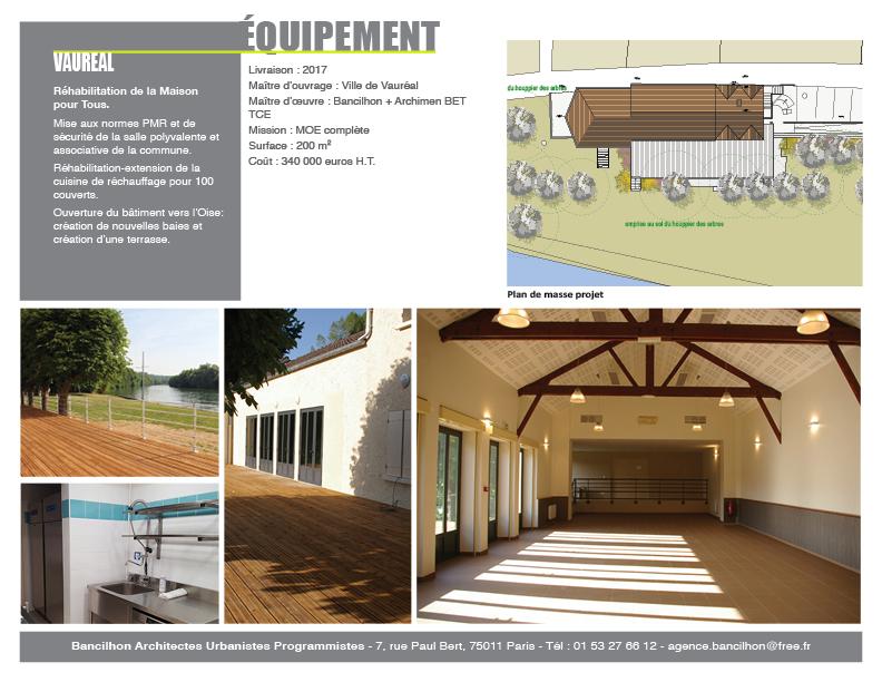 Vaureal renovation de la Maison pour Tous Bancilhon architecte